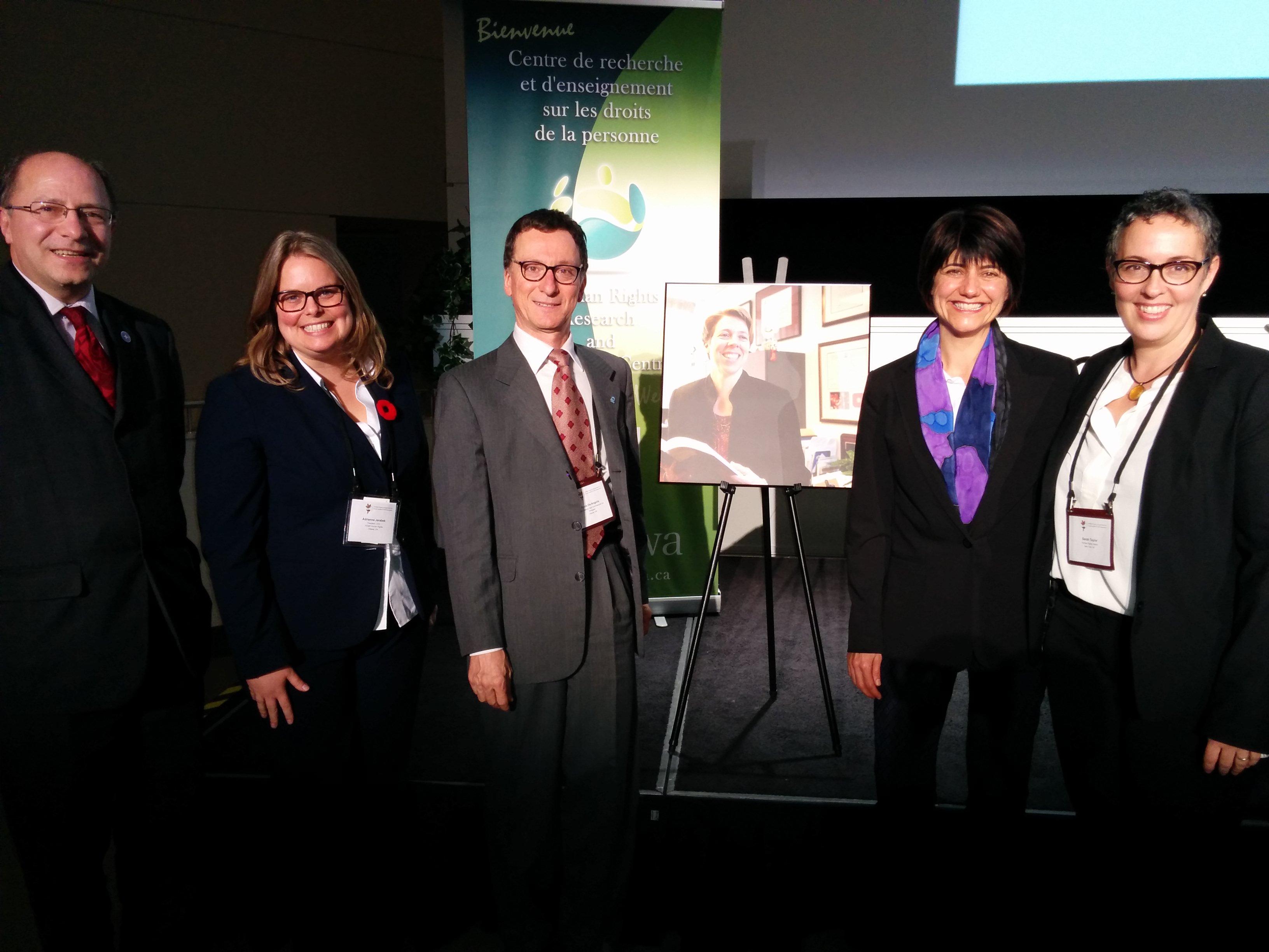 John Packer, Adrienne Jarabek Marion (President, Canadian Council on International Law 2015) and panelists Firo De Angelis (UNHCR), Nathalie Ricard (uLaval), Sarah Taylor (HRW)