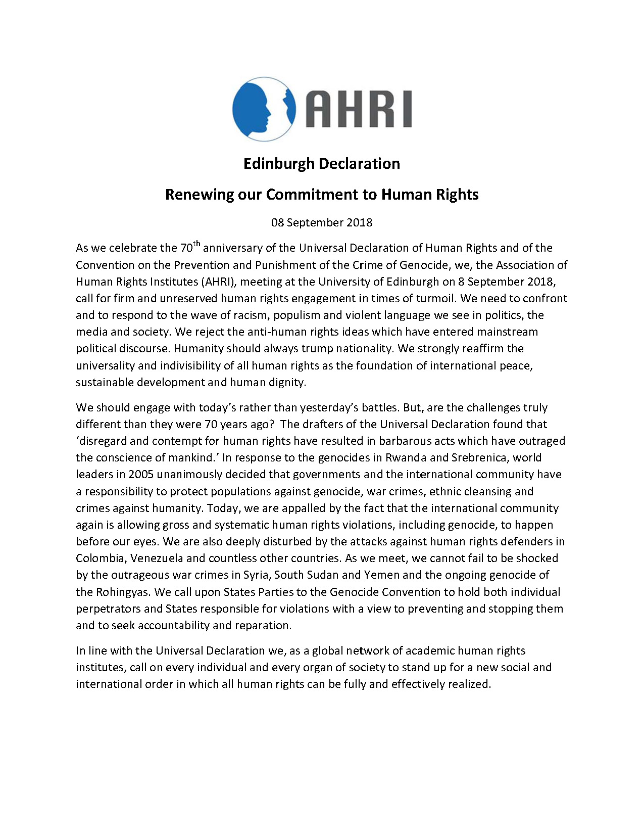 Edinburgh Declaration during the Association of Human Rights Institutes (AHRI) 2018 Conference