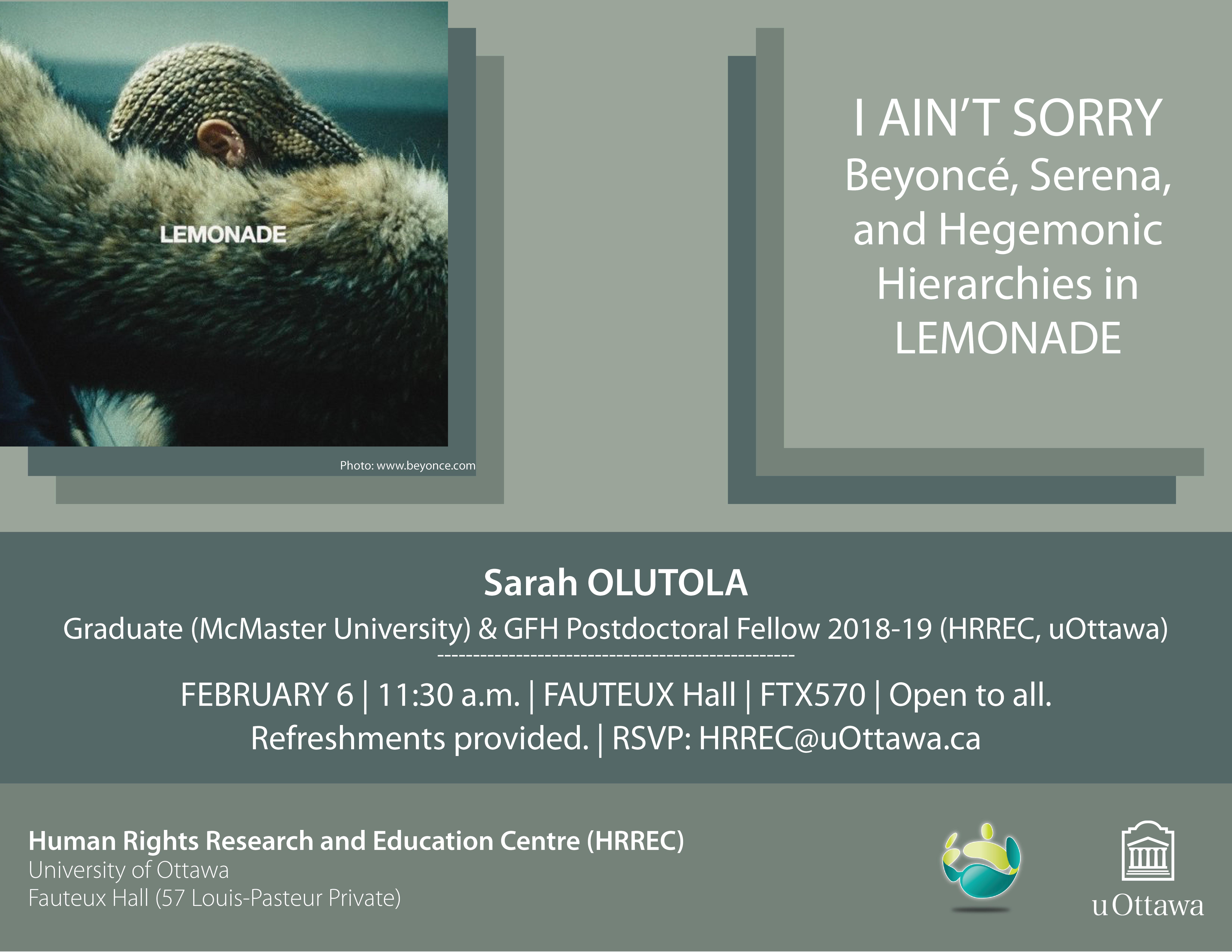 Presentation by Sarah Olutola
