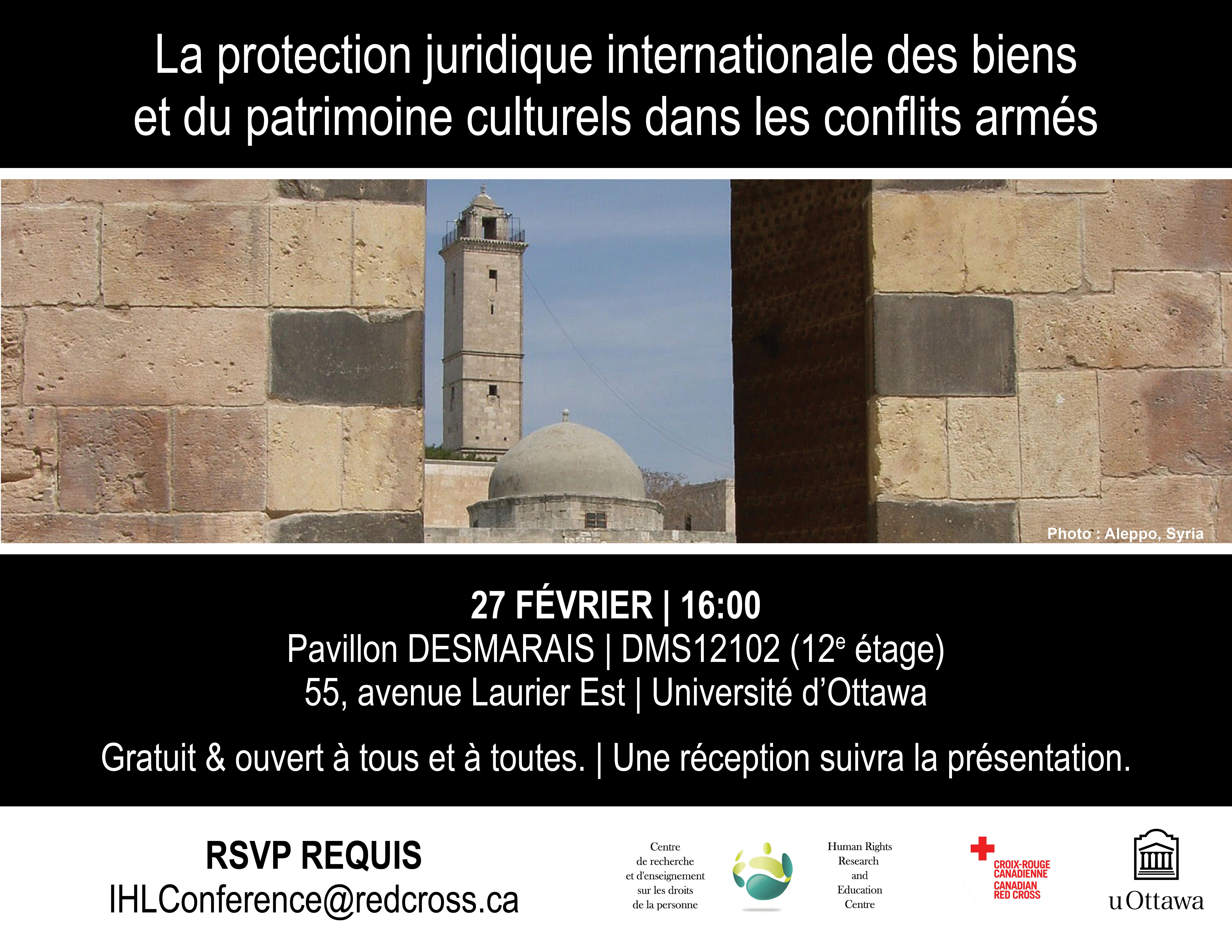 27 FÉV - Protection juridique internationale des biens et du patrimoine culturel