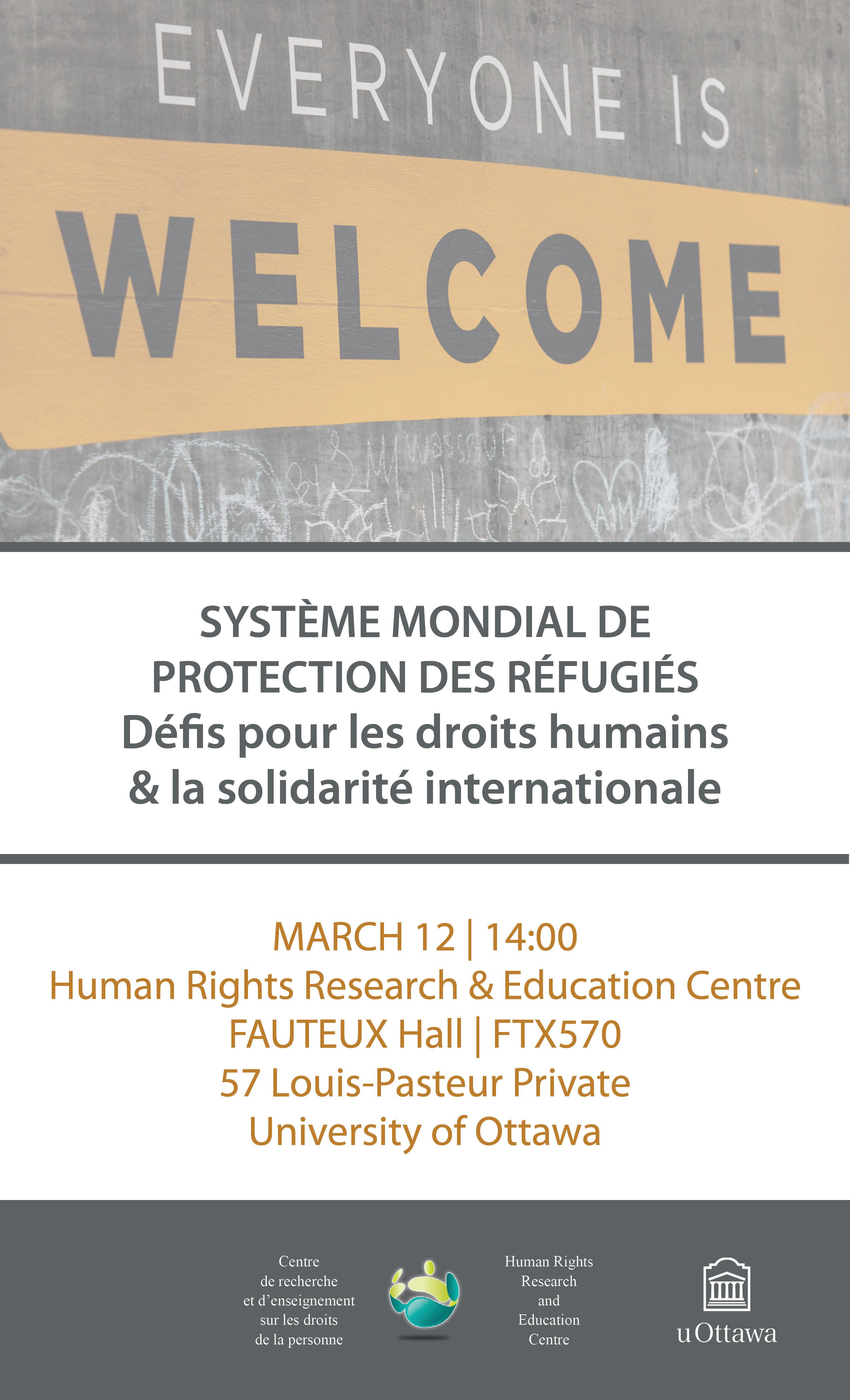 12 mars - Système mondial de protection des réfugiés avec professeur Obiora C. Okafor