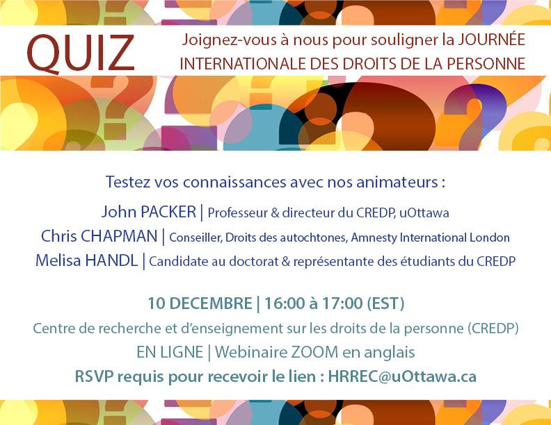 Quiz pour la Journée internationale des droits de la personne