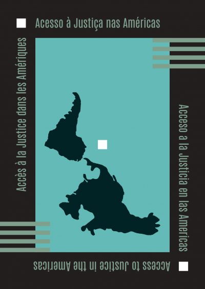 Book | Access to Justice in the Americas - Map of the Americas in black on a blue background