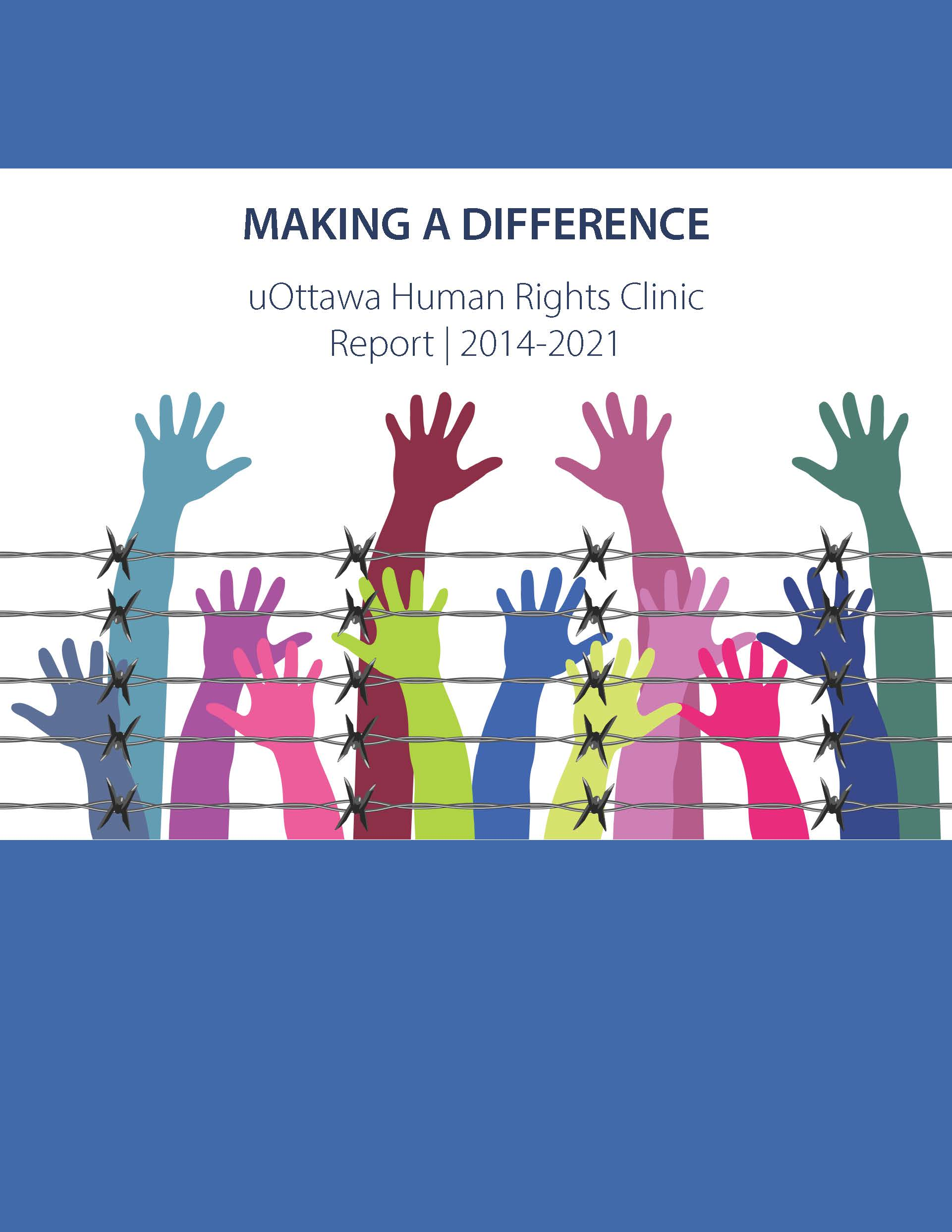 Cover of the Human Rights Clinic's report 2014-2021, blue and white with colorful raised hands behind barbed wires.