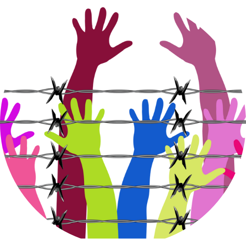 Colourful raised hands behind barbed wire.