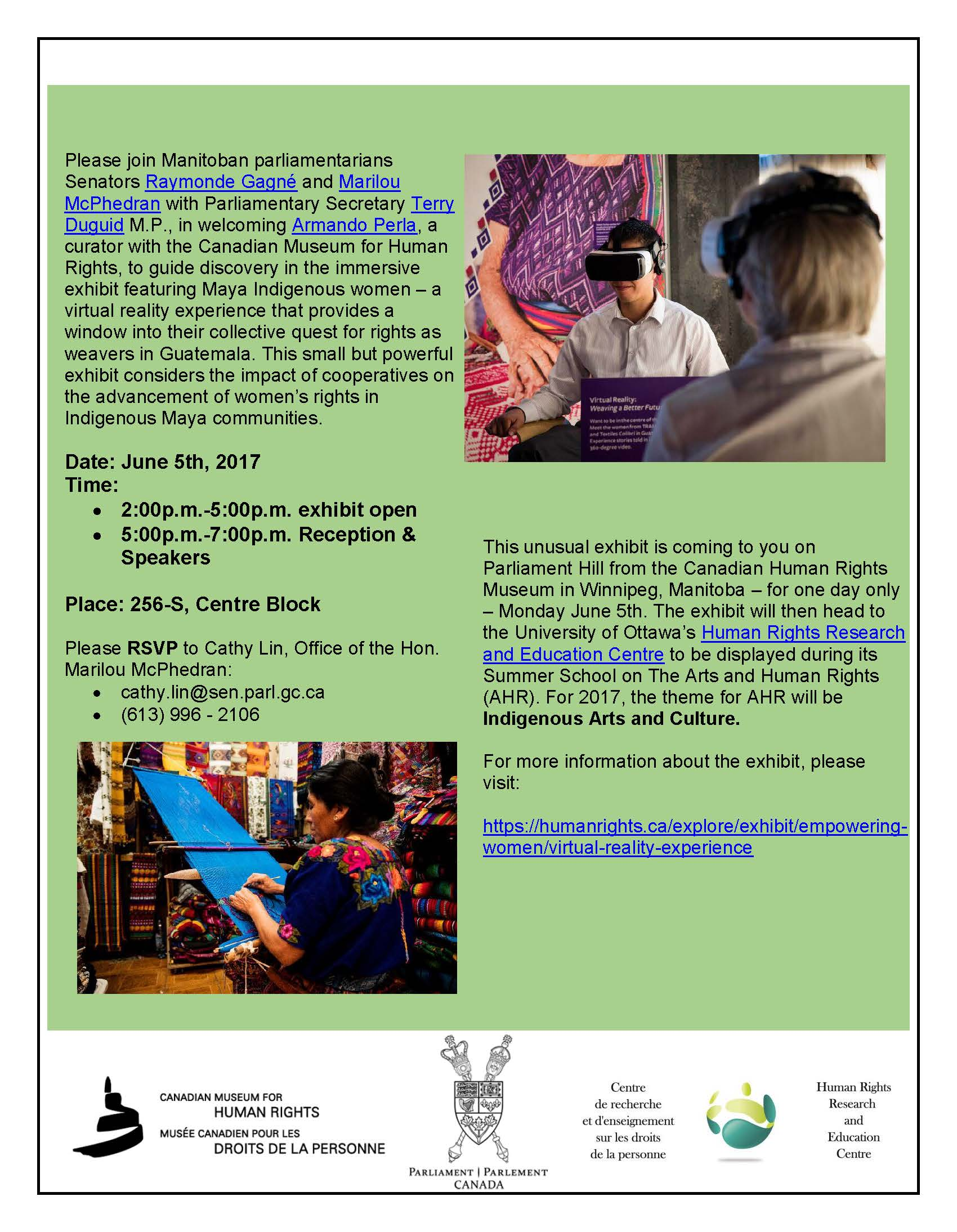 Weaving a Better Future - Exhibition & Event at the Senate - June 5, 2017