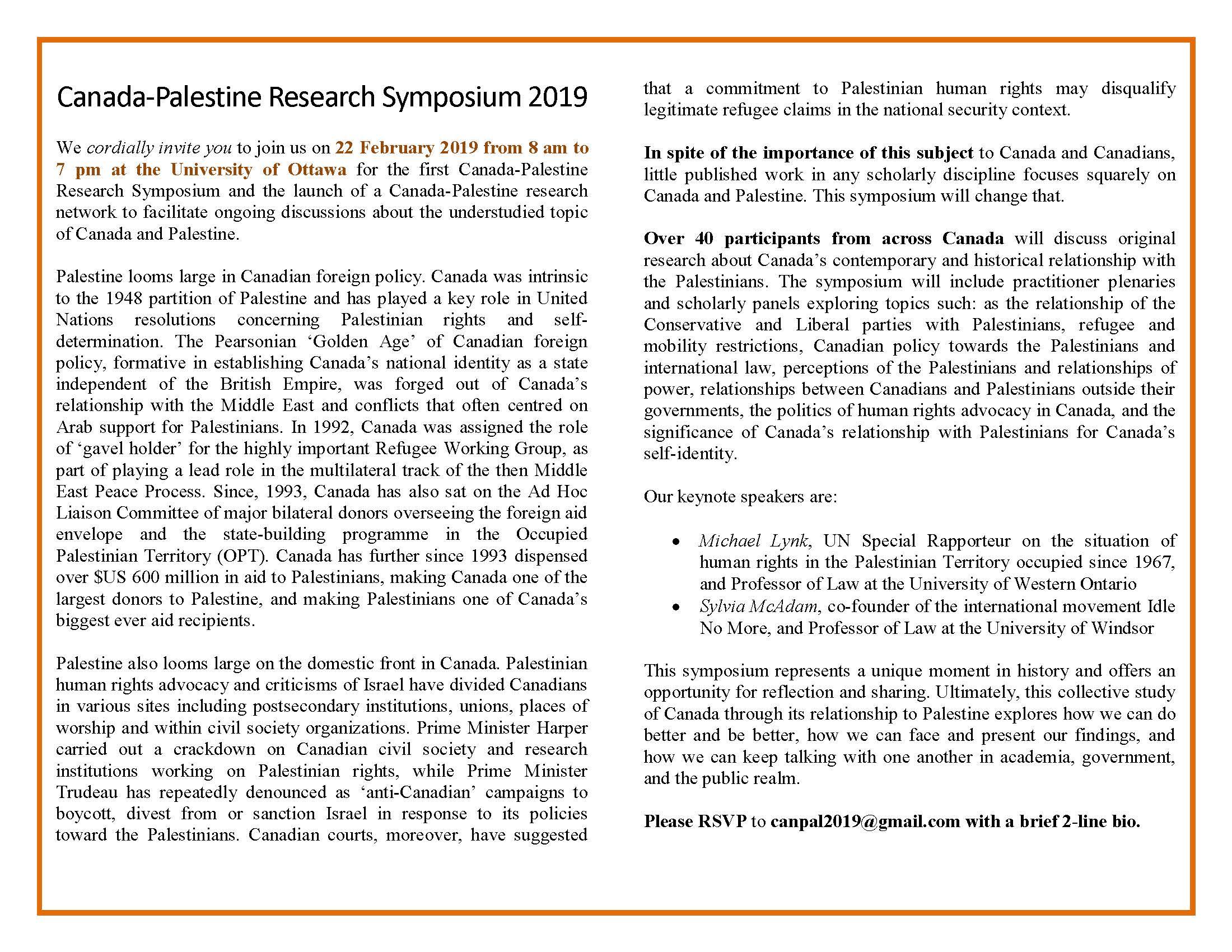 Canada & Palestine 2019 - Symposium