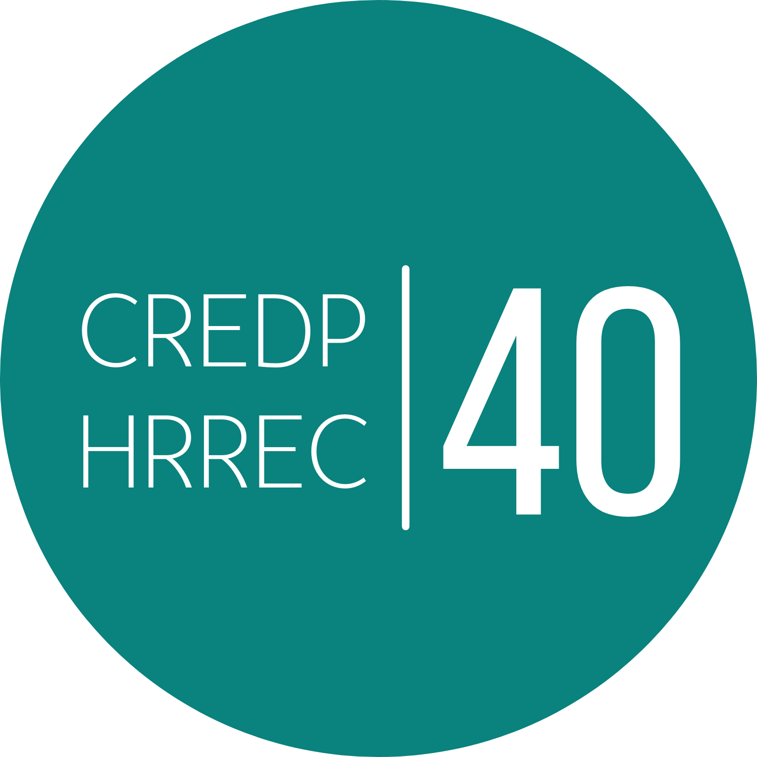 Round teal logo for the 40th anniversary of the University of Ottawa Human RIghts Research and Education Centre