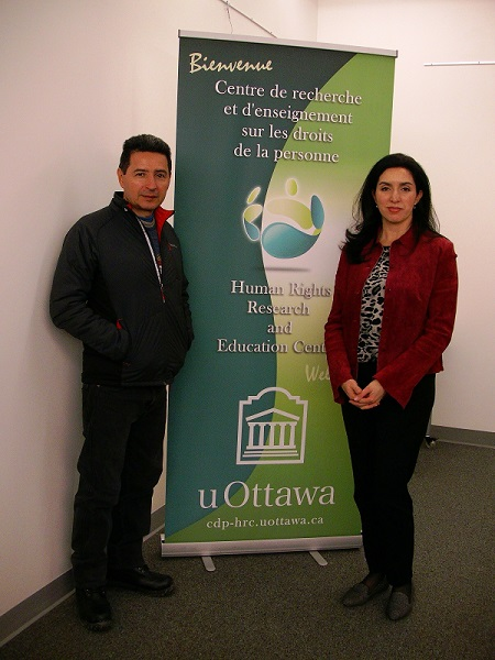 Marino Alvarado, winner of the 6th Human Rights Award given by the Embassy of Canada in Venezuela, and HRREC Assistant Director, Viviana Fernandez. FEB 2015