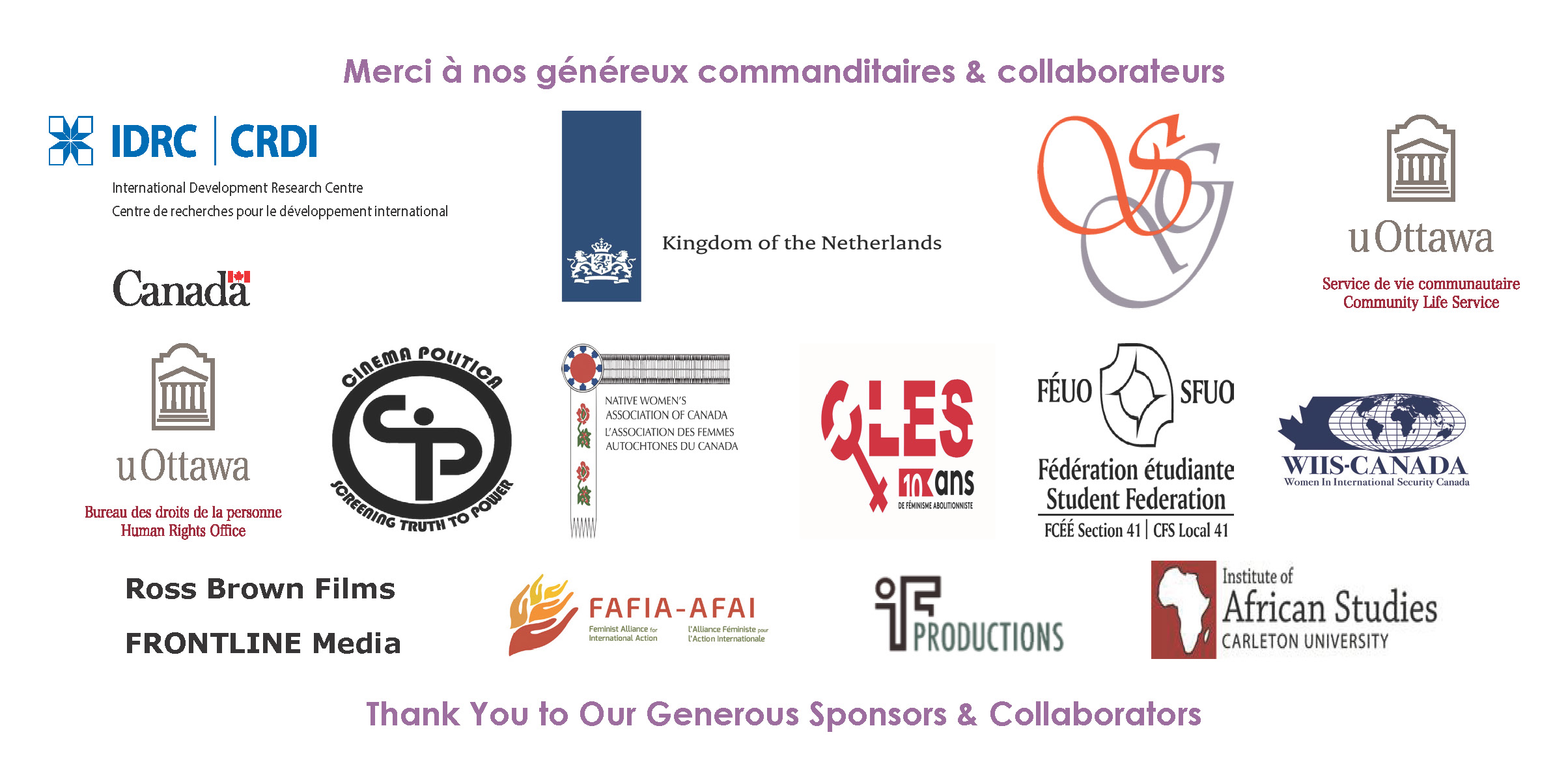 Sponsors and Collaborators for the 3rd uOttawa Human Rights Film Festival