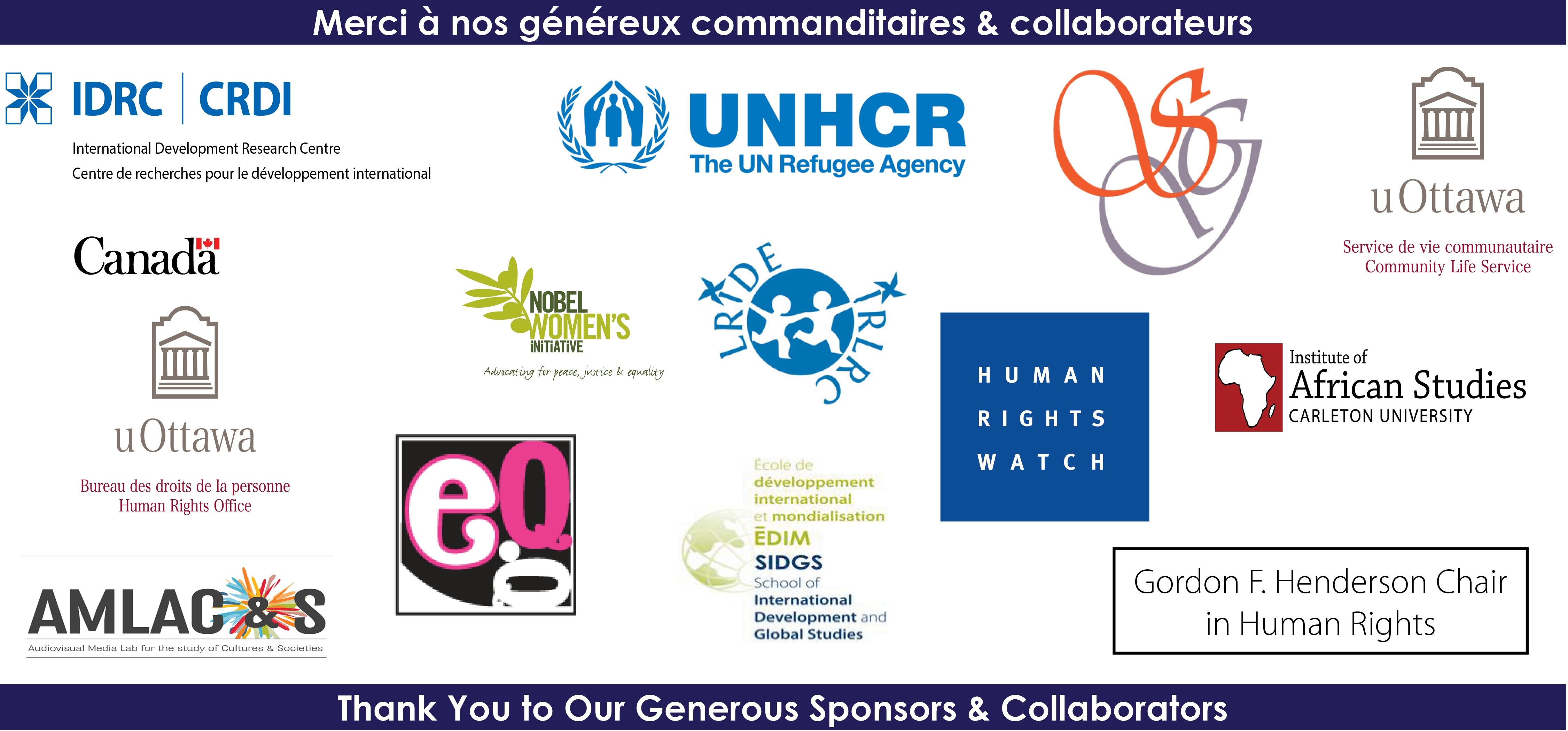 Sponsors - 4th uOttawa Human Rights Film Festival 2016 | Commanditaires - 4e Festival de film des droits de la personne de uOttawa