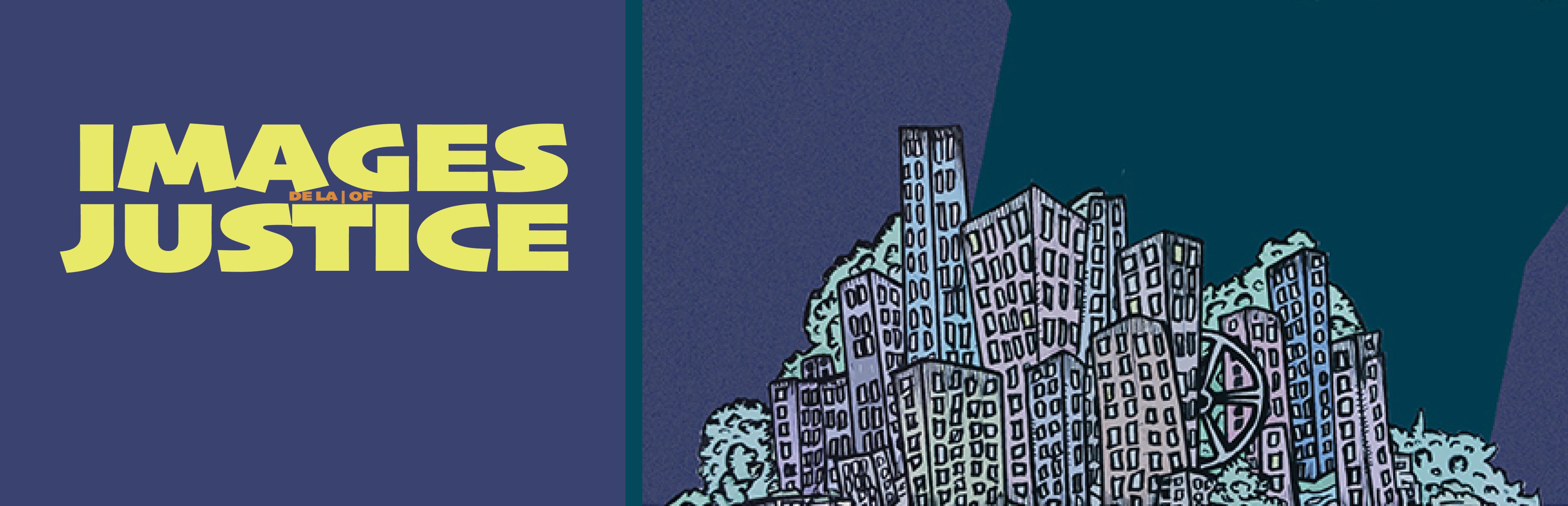 Images de la justice : dessin de gratte-ciel sur un fond mauve
